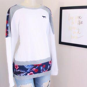 Victoria Secret Varsity Crew Sweater Floral⭐️